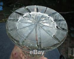 Vintage Waterford Cut Glass Crystal Vase Starburst Pattern Eames Era Fluted Top