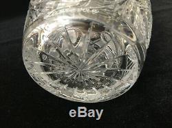 Vintage Zawiercie Laurencie Cut Glass Crystal Vase, 12 Tall x 6 3/4 Diameter