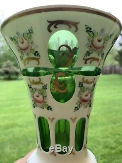 Vtg. Czech Bohemian Vase Glass Enamel Hand Painted White Cut to Green 10 Tall