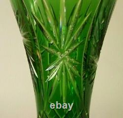 Vtg. Emerald Green Czech Bohemian Cut to Clear Large Cut Glass Vase 12 1/4 x 7