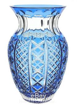 Waterford Crystal Azure Light Blue Cut to Clear Fleurology Molly Vase 12 New